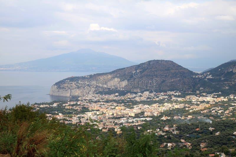 Massa Lubrense And Vesuvius, Italy Stock Images