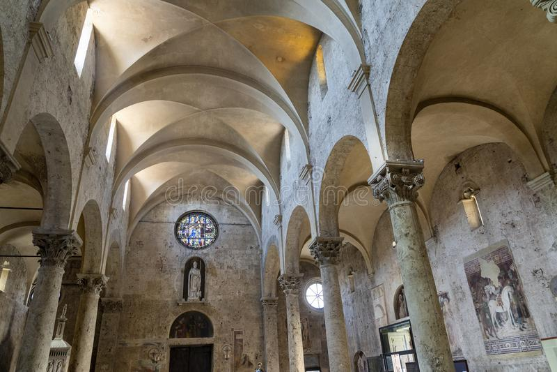 Massa Marittima, Tuscany: the medieval cathedral, interior stock image