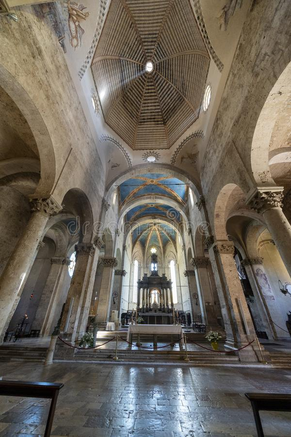 Massa Marittima, Tuscany: the medieval cathedral, interior royalty free stock photo
