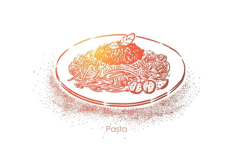 Massa saboroso, placa do macaron com molho bolonhês e tomates, prato delicioso, almoço gourmet, ceia ilustração royalty free