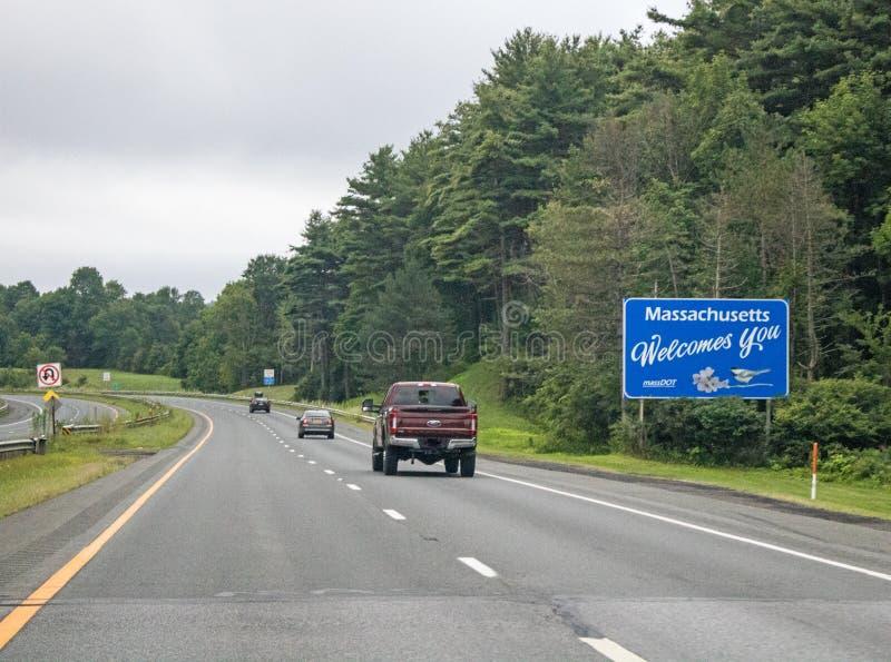 Massachusetts Accoglie Con Favore L'Accesso A Interstate 90 fotografia stock