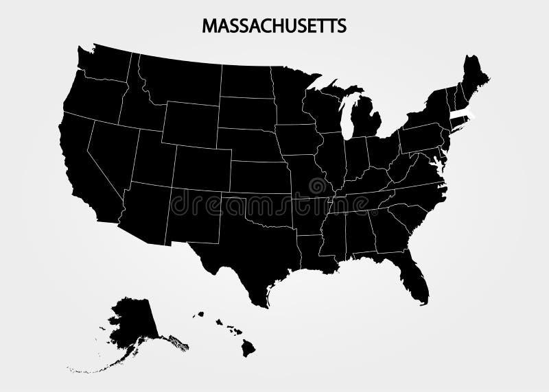 massachusetts Estados del territorio de América en fondo gris Estado separado Ilustración del vector libre illustration