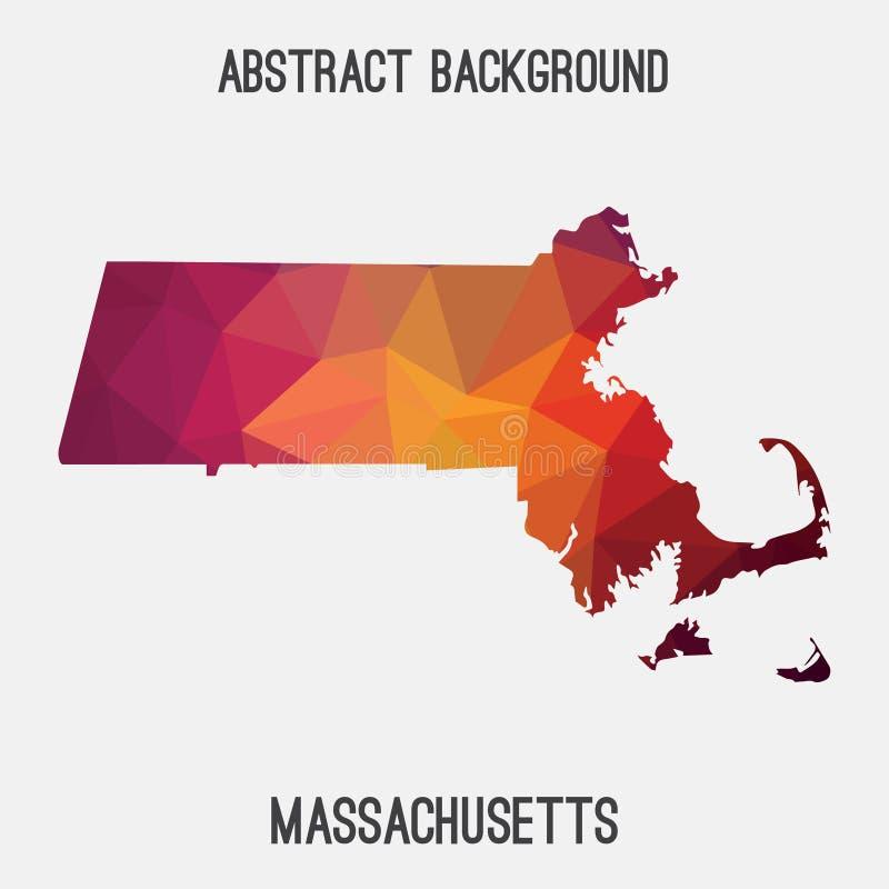 Free Massachusetts Map In Geometric Polygonal,mosaic Style. Royalty Free Stock Photos - 80025638