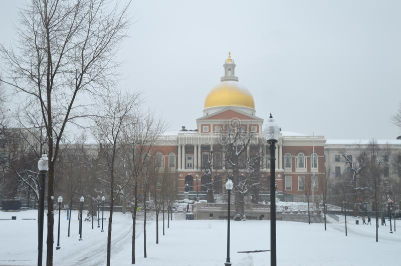 Massachusetts stanu dom w Boston, usa na Grudniu 11, 2016 obraz royalty free
