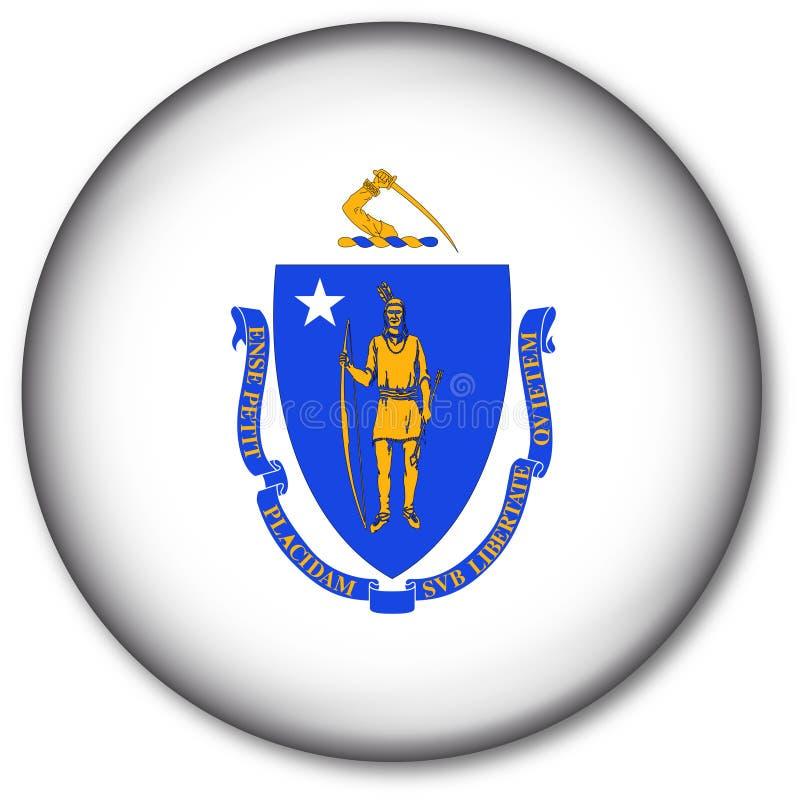Massachusetts State Flag Button royalty free illustration