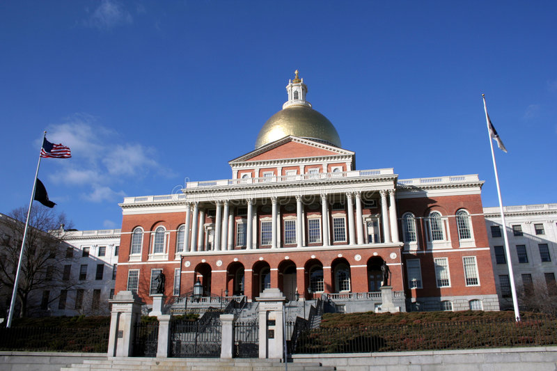 Download Massachusetts State House stock image. Image of flag, cloud - 7185987