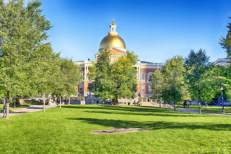 Massachusetts State House and Boston Commons royalty free stock image