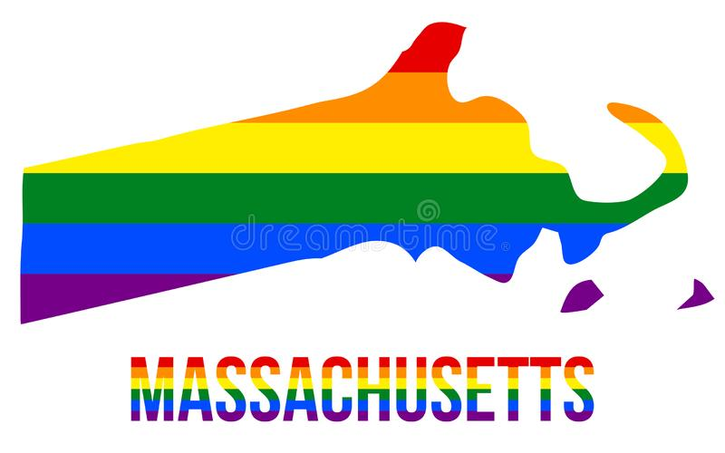 Massachusetts State Map in LGBT Rainbow Flag Comprised Six Stripes With Massachusetts LGBT Text stock illustration