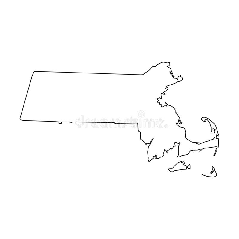 Free Massachusetts, State Of USA - Solid Black Outline Map Of Country Area. Simple Flat Vector Illustration Stock Image - 142096901