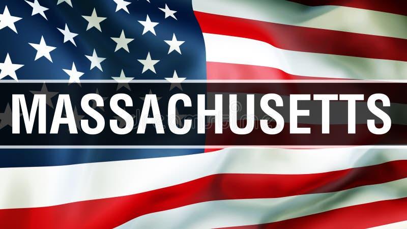 Massachusetts tillstånd på en USA flaggabakgrund, tolkning 3D USA flagga som vinkar i vinden stolt amerikanska flaggan stock illustrationer