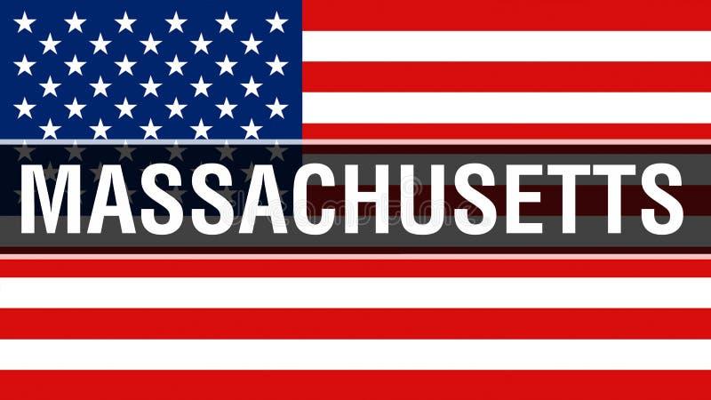 Massachusetts tillstånd på en USA flaggabakgrund, tolkning 3D USA flagga som vinkar i vinden stolt amerikanska flaggan royaltyfri illustrationer