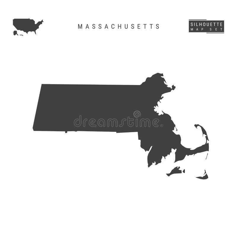 Massachusetts USA påstår vektoröversikten som isoleras på vit bakgrund Hög-specificerad svart konturöversikt av Massachusetts royaltyfri illustrationer