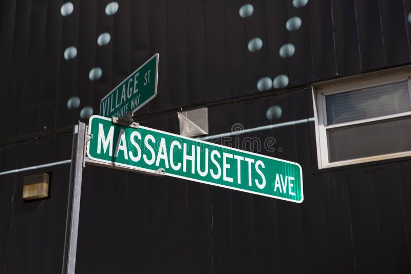 Massachusetts znak uliczny, Cambridge, MA zdjęcie royalty free
