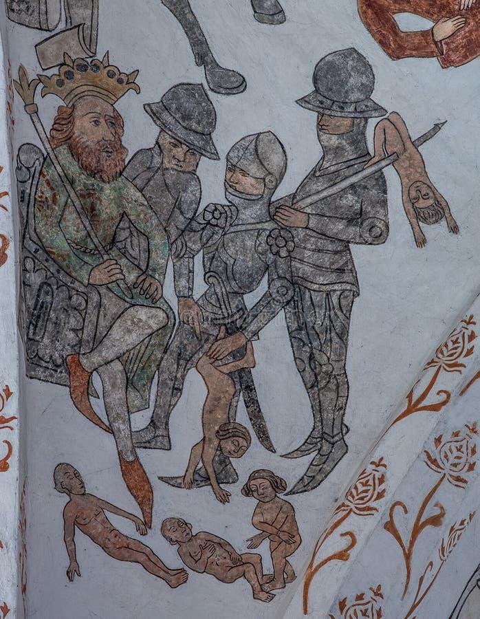Massacre dos innocents em Bethlehem, um fresco medieval foto de stock royalty free