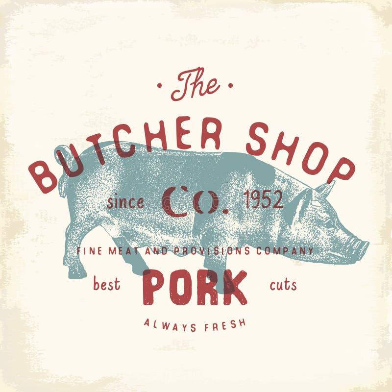 Massacre produtos de carne da carne de porco do emblema do vintage de Shop, estilo retro do molde do logotipo do açougue Projeto  ilustração stock
