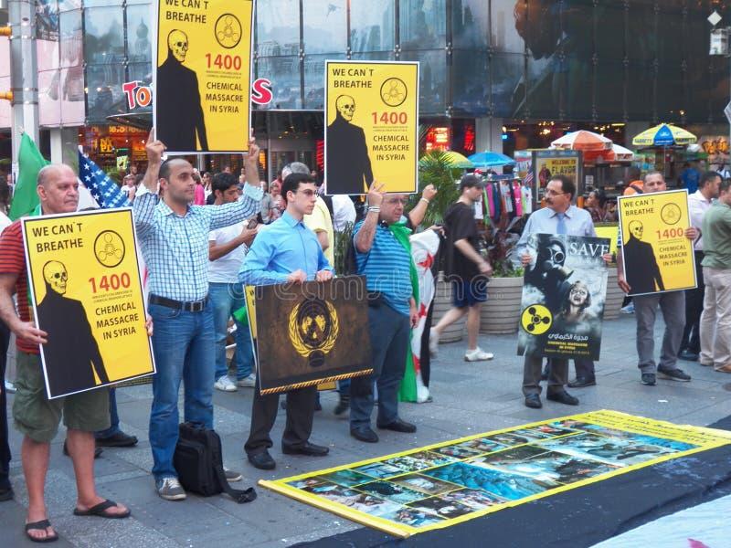 Massacro chimico in Siria - un anniversario di 2 anni (New York) immagini stock