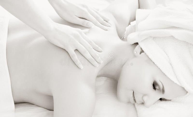 massag黑白照片专业人员 免版税库存照片