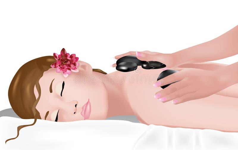 Massage 2 van de steen stock illustratie