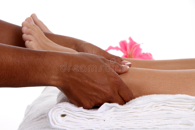 Massage. Woman getting a getting relaxing massage in salon royalty free stock image