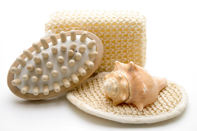 Massage brush and sponge royalty free stock photos