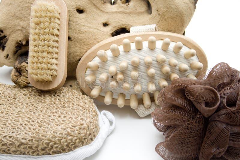 Massage brush and sponge with nailbrush. On white background stock image