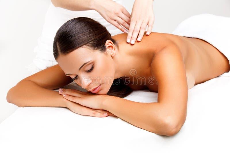 Massage. Close-up van een Beautiful Woman Getting Spa Behandeling royalty-vrije stock afbeeldingen