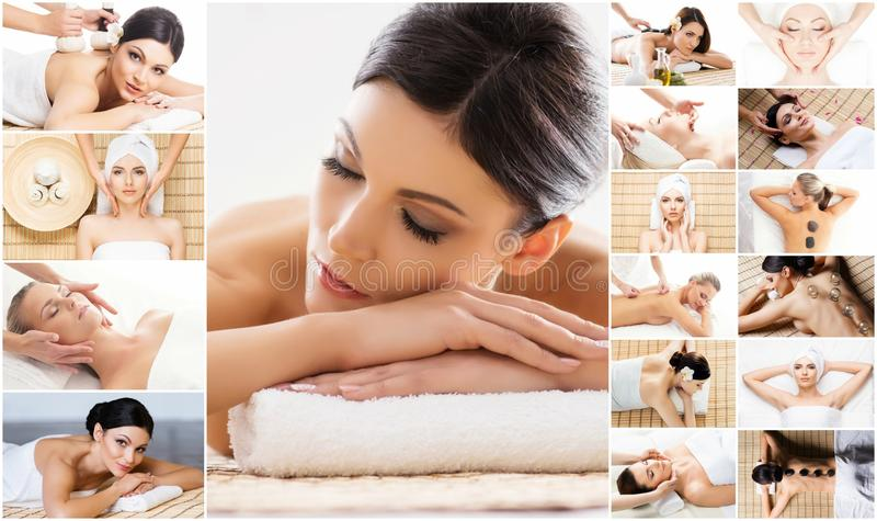 Massage collection. Health care, healing and medicine concept. royalty free stock photo