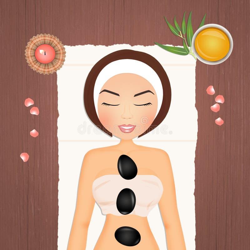 Massage de détente en pierre illustration de vecteur
