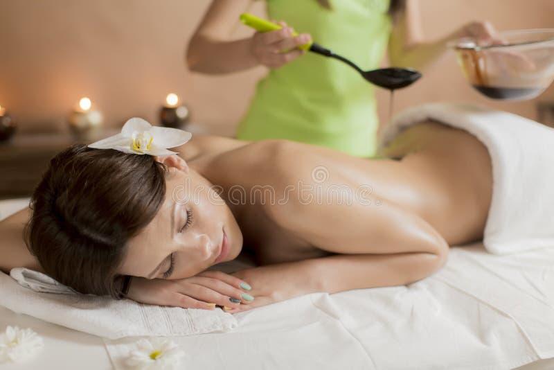 Massage der heißen Schokolade stockfoto