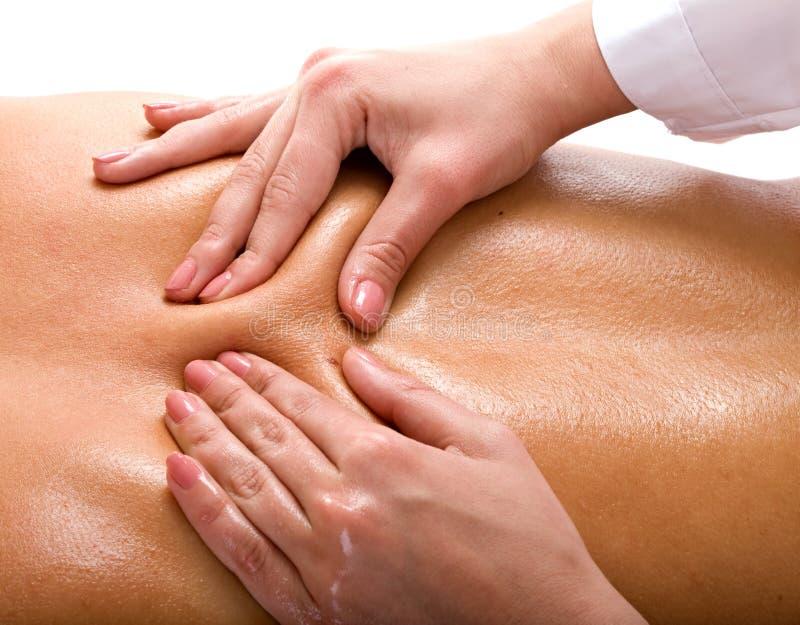 Massage der Rückseite. Badekurortrücksortierung. lizenzfreies stockbild