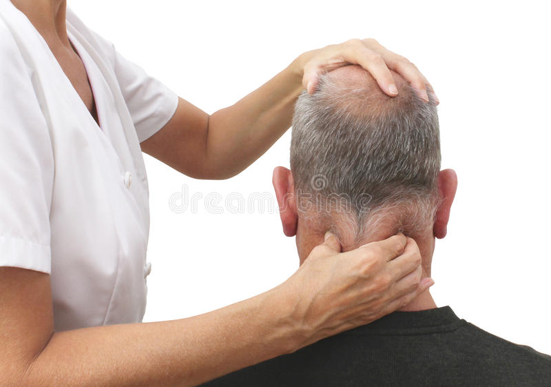 Massage des muscles serrés de cou images stock