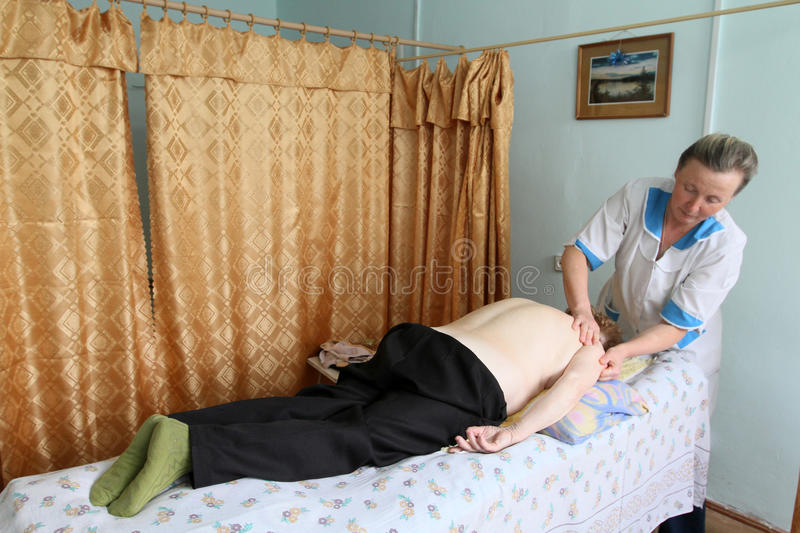 Massage for the elderly stock images