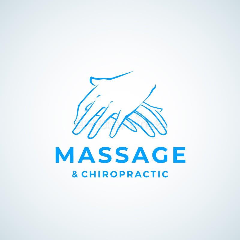 Massage en Chiropraktijk het Vectorteken van Absrtract, Symbool of Logo Template Het masseren van Handenembleem met Moderne Typog royalty-vrije illustratie