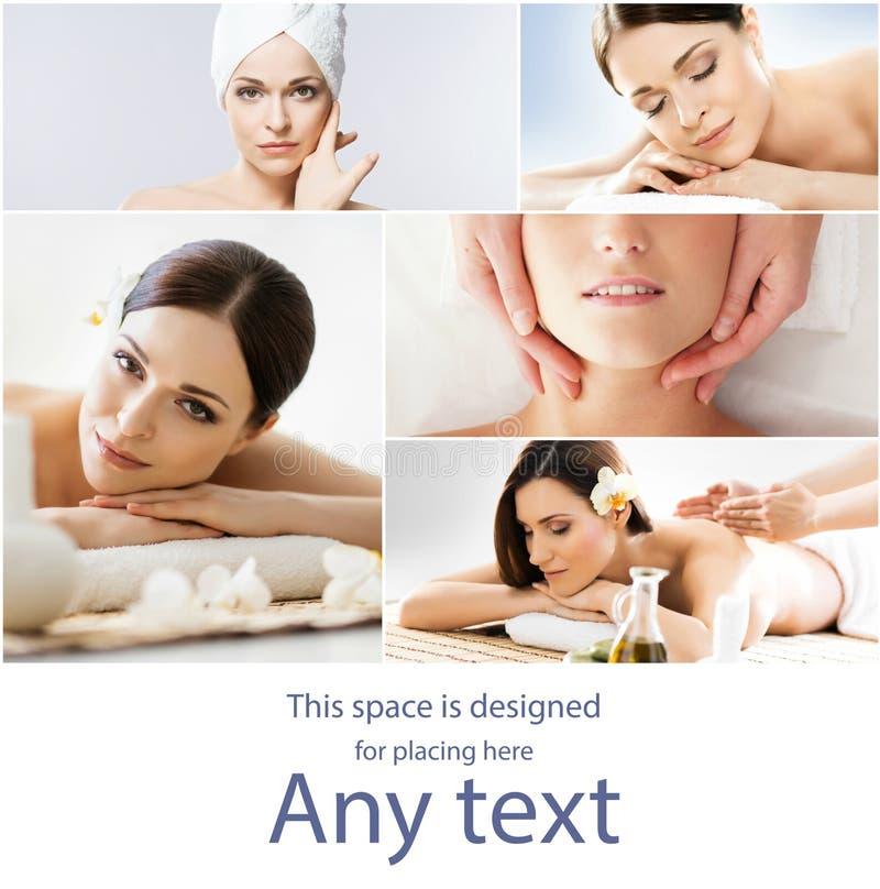 Massage en helende inzameling Vrouwen die verschillende soorten massage hebben Kuuroord, wellness, gezondheidszorg en aromatherap stock fotografie