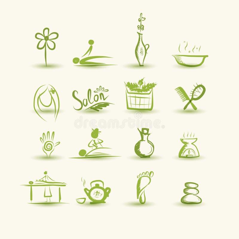 Download Massage En Kuuroord, Reeks Pictogrammen Voor Uw Ontwerp Vector Illustratie - Illustratie bestaande uit doodle, bloem: 33301445