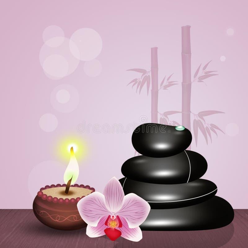 Massage en pierre chaud sur la table en bois illustration de vecteur