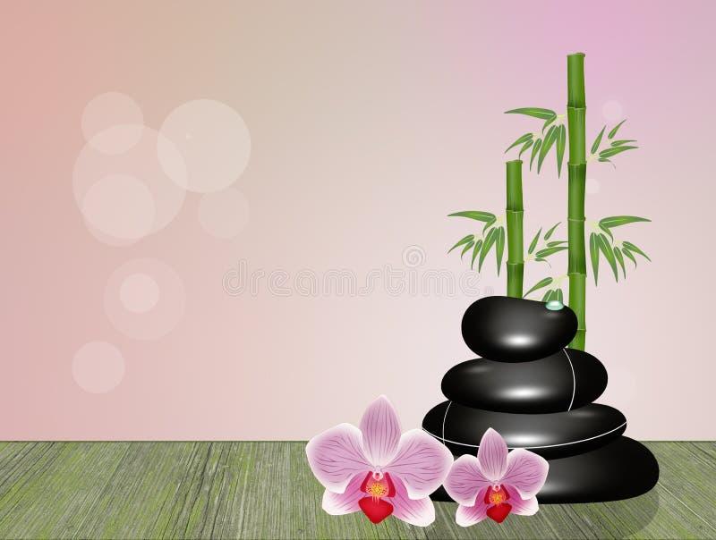 Massage en pierre chaud sur la table en bois illustration stock