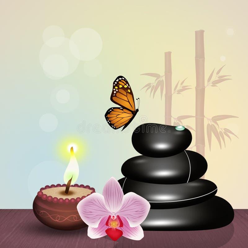Massage et bougie en pierre chauds illustration stock