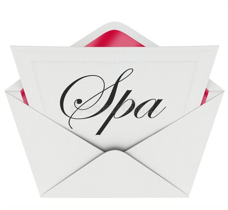 Massage för behandling för avkoppling för specialt erbjudande för Spa bokstavsinbjudan royaltyfri illustrationer