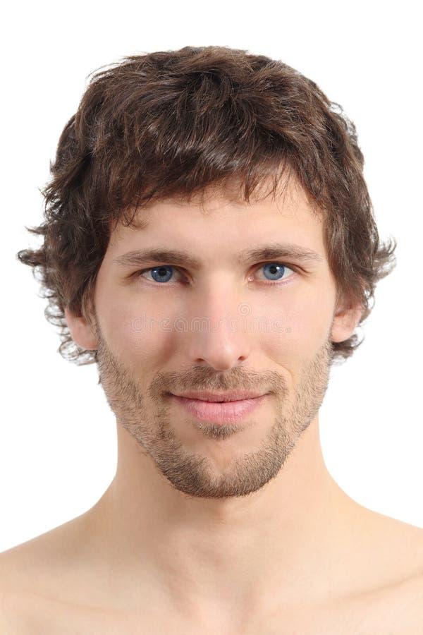 Massage facial étroit d'un visage attrayant d'homme image libre de droits
