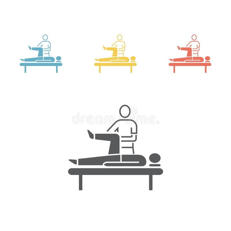 Massage-flache Ikone lizenzfreie abbildung