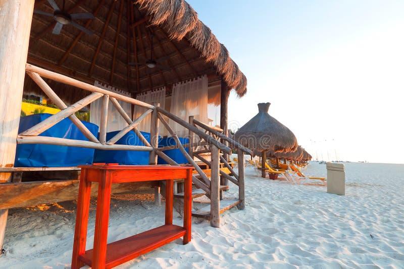 Massage hut on Caribbean beach royalty free stock photos