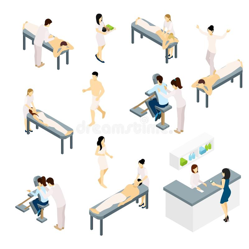 Massage Icons Set. With back shoulders and face massage isometric vector illustration stock illustration