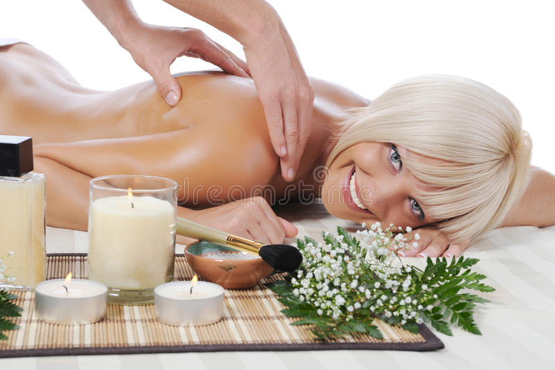 Massage im Badekurortsalon stockfotos