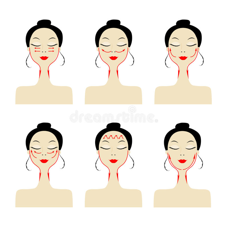Massage lines on woman face royalty free illustration