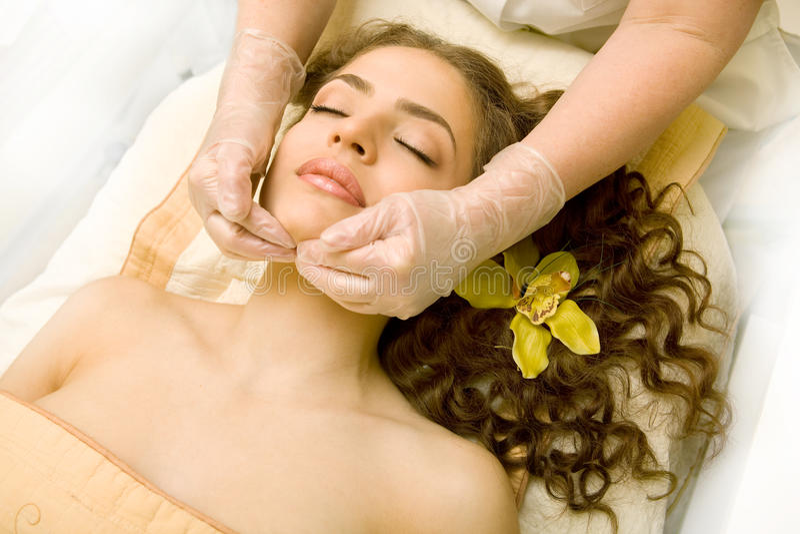 Massage lymphatique facial photographie stock