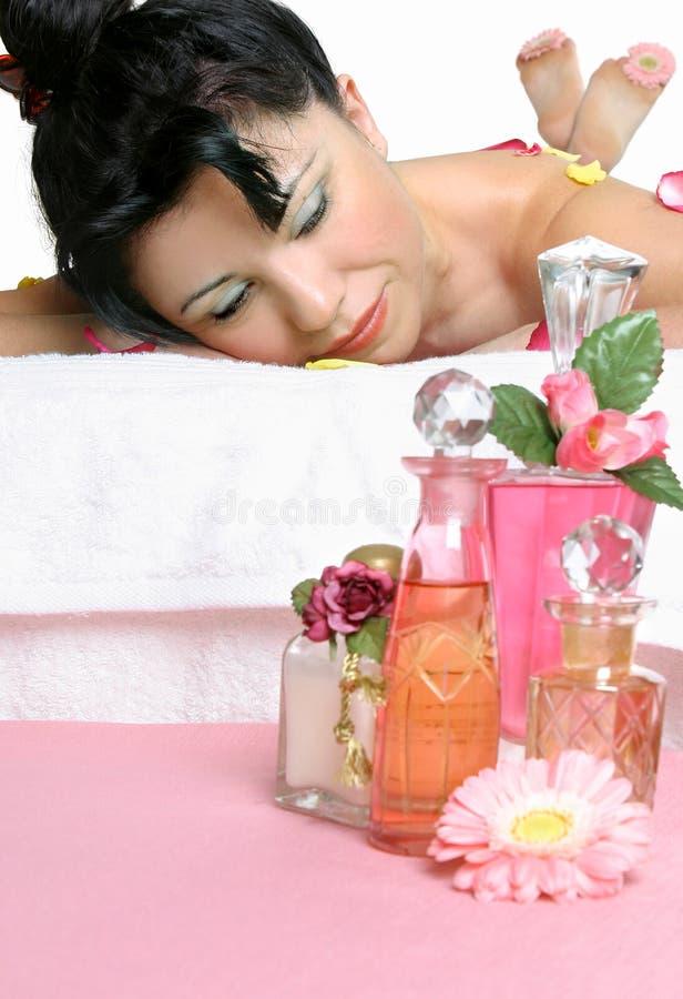 Massage met essentiële oliën royalty-vrije stock foto's
