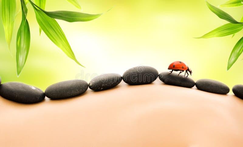 Massage mit heißen Steinen lizenzfreie stockbilder