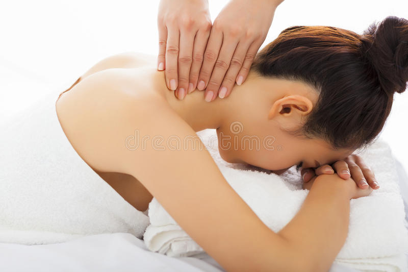 Massage of neck for woman in spa. Salon stock image