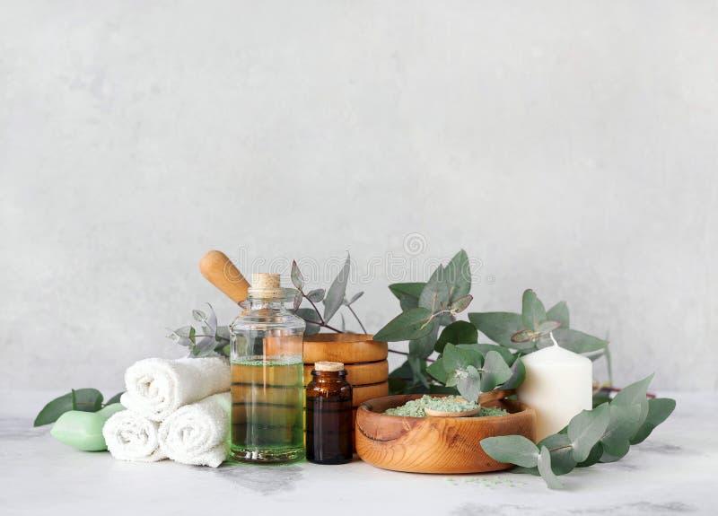 Massage- och Spa produkter med eukalyptuns royaltyfri fotografi